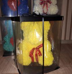 Новый мишка из роз 40см желтый