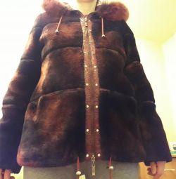 Palton de piele de oaie pentru femei