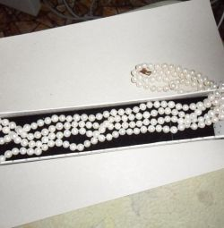 Necklace (pearl, hyalite), silver pendant