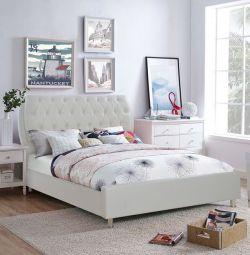 Κρεβάτι Ariane με Λευκό PU 150x200