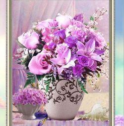 Алмазна вишивка, 400х300, Квіти у вазі.