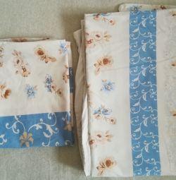 Duvet cover and 2 used pillowcases, poplin