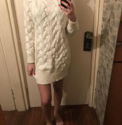Beyaz elbise kazak uzun büyük yeni örme