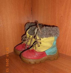 Winter boots 21-22 rr, natural suede and fur.