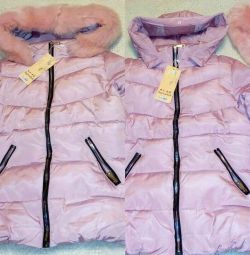 New jacket, pink, there is a hood + fur (