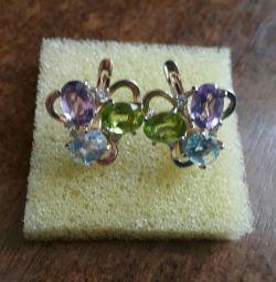 Ασημένια σκουλαρίκια με ημιπολύτιμες πέτρες