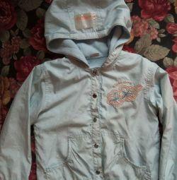 Windbreaker για ένα κορίτσι 4-5 ετών σε ένα μπλε ρούχα fleece