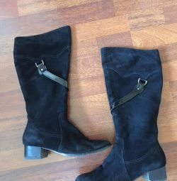 Suede μπότες demi-εποχή