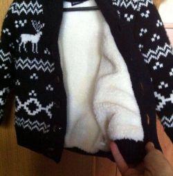 Geacă tricotată pe blană 92-104cm