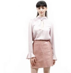 Leather skirt pink mother of pearl. M / L