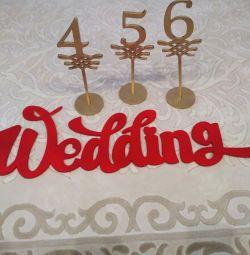 Надпись свадьба ,номерки на стол