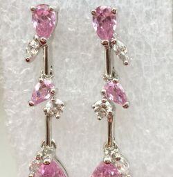 Cercei din argint cu topaz roz și zirconii cubice