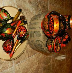 Gift set, Khokhloma, wood. New
