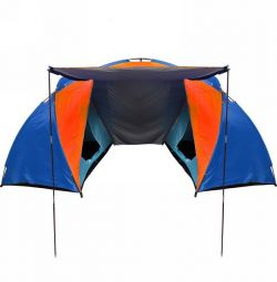 Tent camping 4-seater 2-layer blue