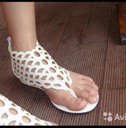 Sandals, white plaited