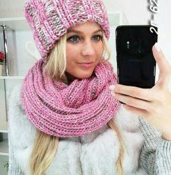 New hat on fleece + snood