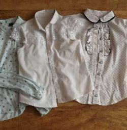 School shirts, 134-140 cm, price for all three