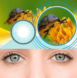 Линзы цветные контактные / чeрные / зеленые / гол