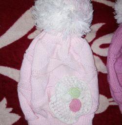 Children's hat, pale pink, new.
