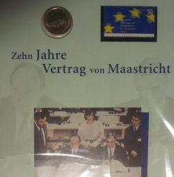 Setul de suveniruri 1evro + ștampila poștală (Germania) într-un blister