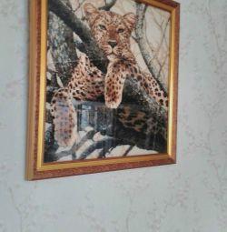 Картина леопард 65 на 65 см