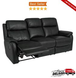 3 Seater HOME Tyler Leather Effect Luxury Recliner