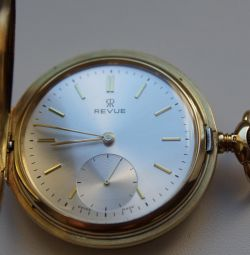 Revue gold pocket watch mechanic Switzerland