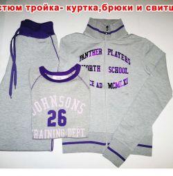Spor Takım Elbise-Üçlü Ceket + Pantolon + Sweatshirt