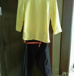Блузка лимонного цвета брюки зауженные Zara