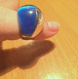 Lapis lazuli ile gümüş yüzük