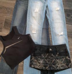 Юбка-шорты, джинсы +топ