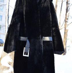 Muton γούνινο παλτό με δερμάτινη ζώνη