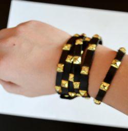 Stylish bracelet with rivets