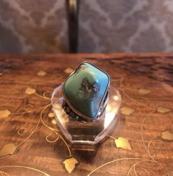 Ring with natural turquoise