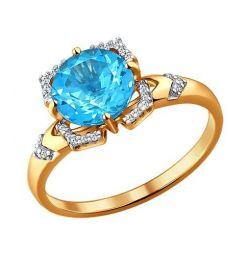 Χρυσό δαχτυλίδι με τοπάζ και κυβική ζιρκονία