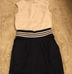 Μπλούζα και φούστα για ένα κορίτσι 134-140 ύψος