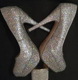 Παπούτσια ασημένια 36,5-37 rr