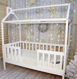 Casa pentru paturi pentru copii. Lemn de fag solid