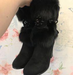 Boots din piele naturală, blană naturală