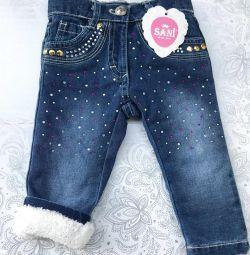Новые зимние джинсы для девочек 9 и 18 месяцев