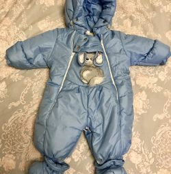 Children's winter overalls for 6-9 months (sheepskin)