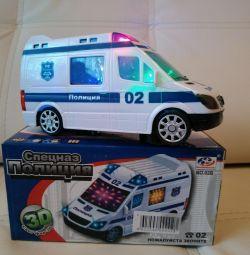 Pille çalışan polis arabası (ışık, ses)