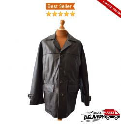 Mens Linea Real Leather Dark Brown (Large) Jacket