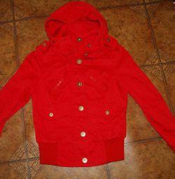 Jachetă roșie denim Vera moda