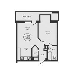 Apartament, 2 camere, 46 m ²