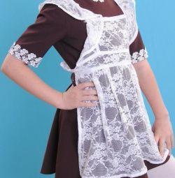 Школьное платье + фартук
