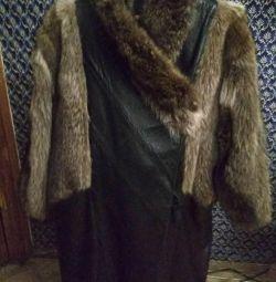 Short fur coat Nat. Leather with fur