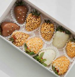 Set cadou Căpșuni acoperite cu ciocolată