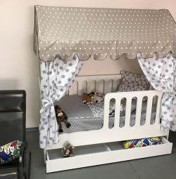 Pat pentru copii Lojă cu sertare
