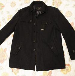 Ανδρικό μάλλινο παλτό σκούρο γκρι 50-52 r